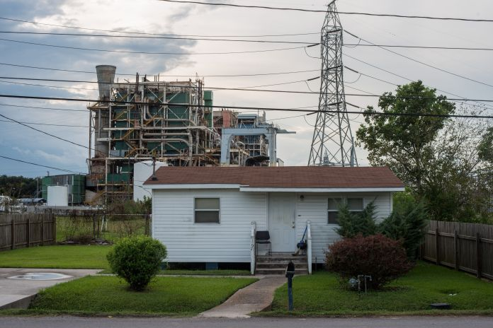 A house along the long stretch of River Road by the Mississippi River and the many chemical plants October 12, 2013.