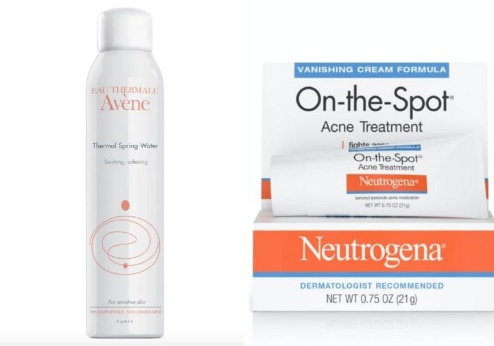 "<strong><a href=""https://www.ulta.com/brand/avene"">Av&egrave;ne Thermal Spring Water</a>, 18.50;</strong> <strong><a href=""https://www.walgreens.com/store/c/neutrogena-on-the-spot-acne-treatment-with-benzoyl-peroxide/ID=prod4396-product"" target=""_blank"" rel=""noopener noreferrer"">Neutrogena On-the-Spot Acne Treatment</a>, .79</strong>"