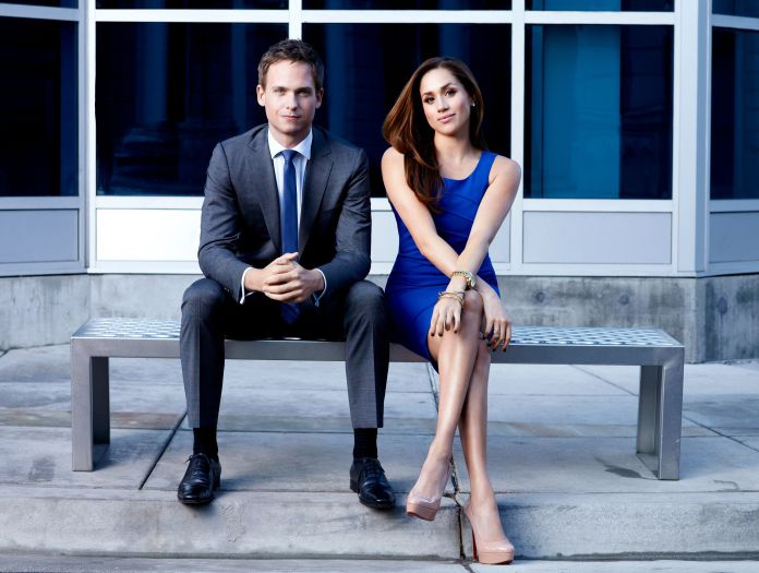 """Patrick J. Adams as his """"Suits"""" character Mike Ross and Meghan Markle as Rachel Zane. Adams posted a lengthy Twitter thread d"""