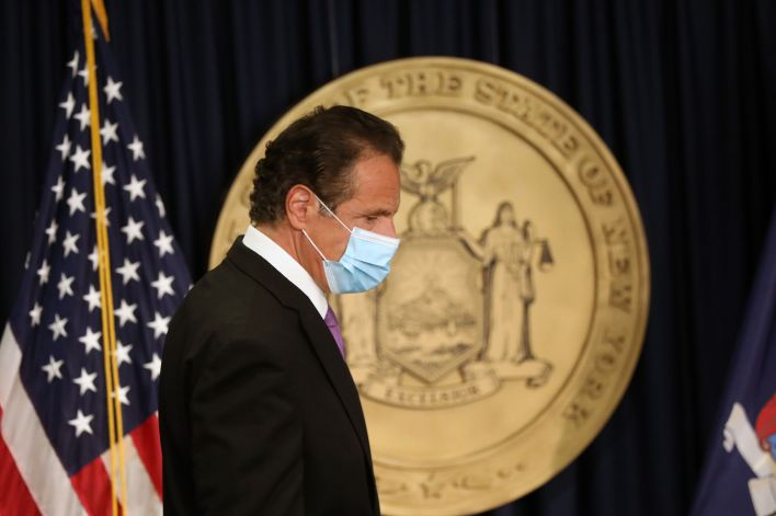 New York Gov. Andrew Cuomo (D) arrives for a news conference on Sept. 8, 2020, in New York City.