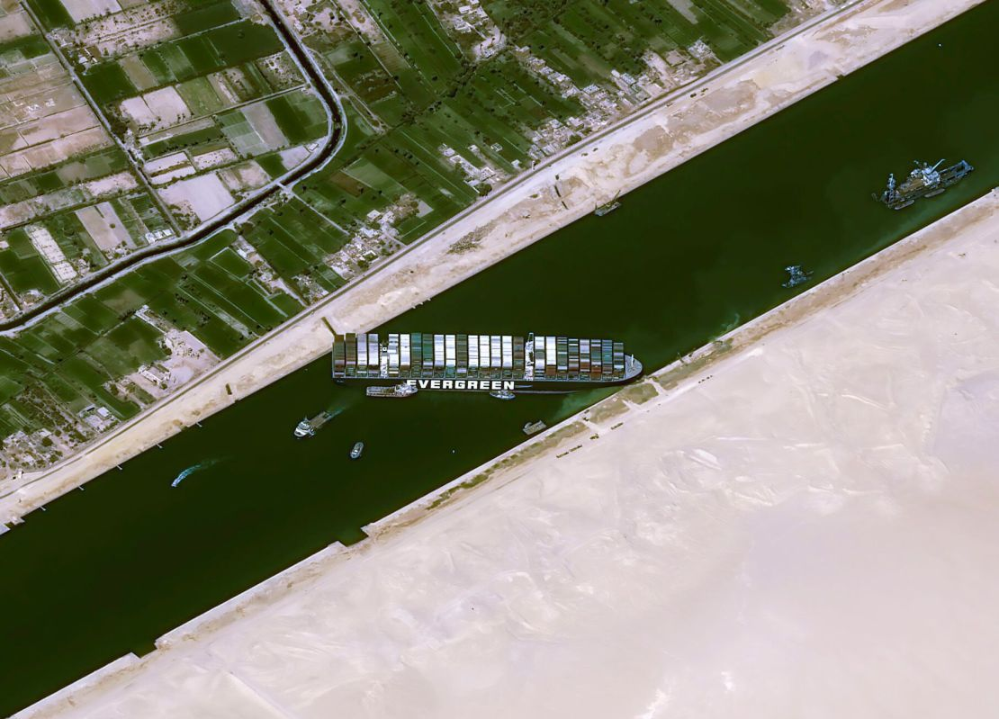 This satellite image shows the cargo ship MV Ever Given stuck in the Suez Canal near Suez, Egypt, on March 25, 2021.