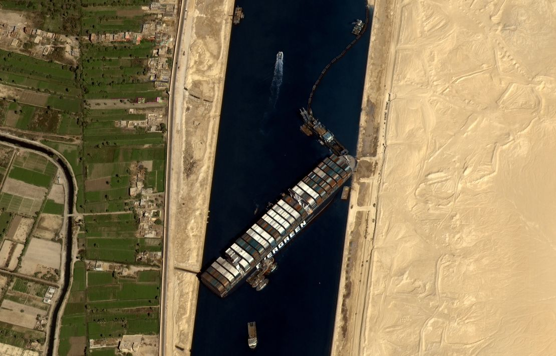 This satellite image shows the Ever Given stuck in the Suez Canal.