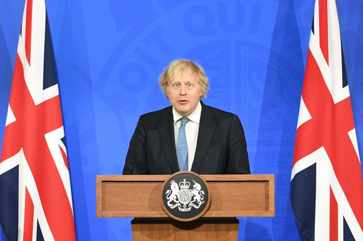 Prime Minister Boris Johnson, during a media briefing in Downing Street, London, on coronavirus (Covid-19)....