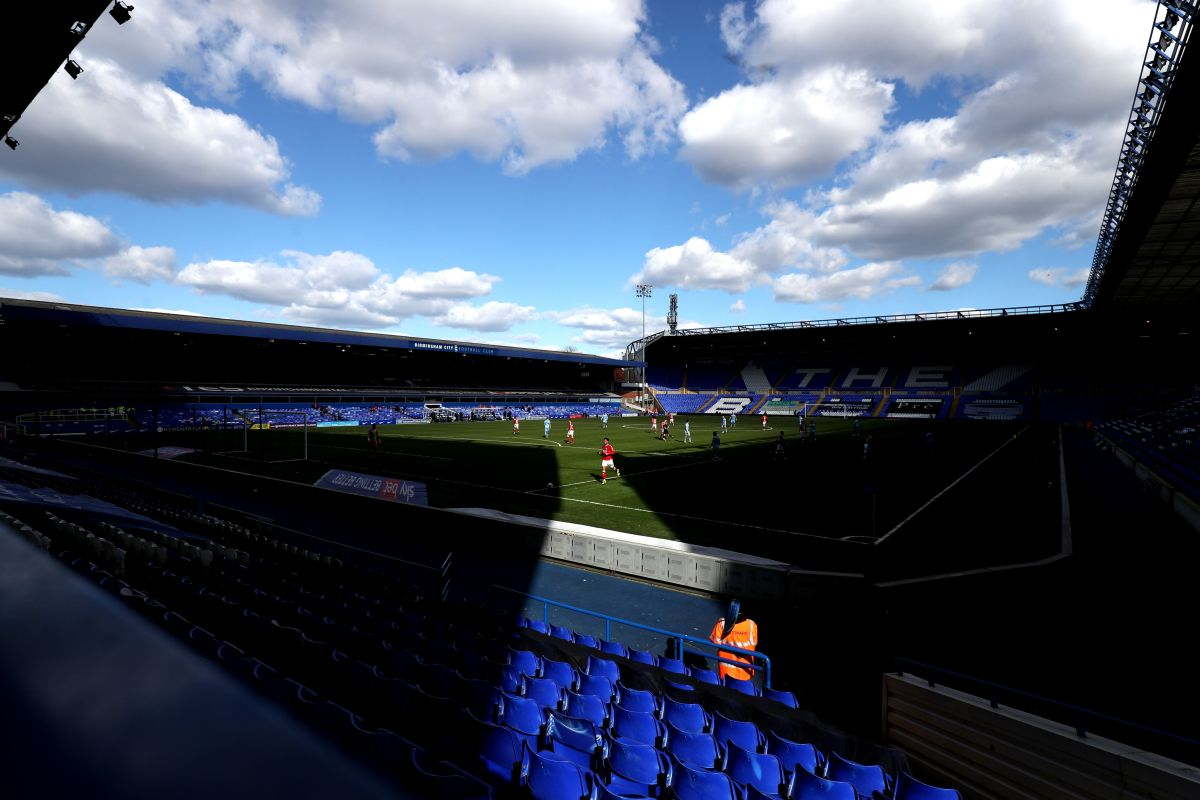 Match action in front of empty stands during the Sky Bet Championship match at St. Andrew's Trillion...