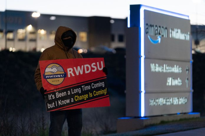 """Amazon had anti-union messaging throughout the warehouse and put workers through so-called """"captive audience"""" meetings, where"""