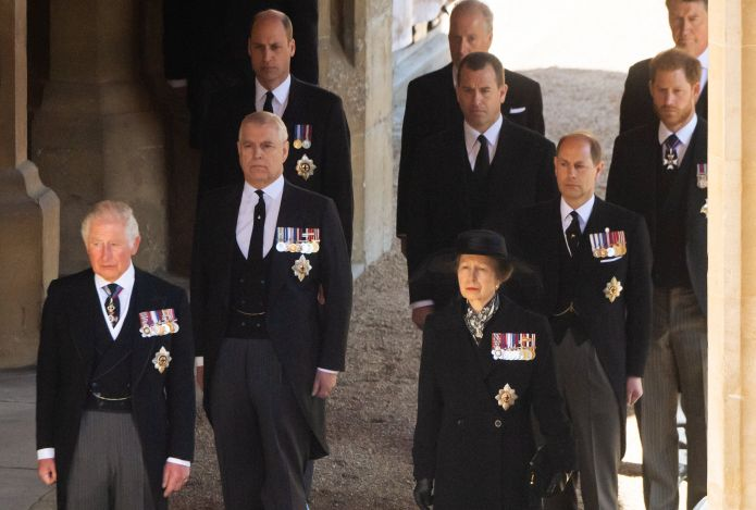 Prince Charles, Prince Andrew, Princess Anne, Prince William, Earl of Snowdon David Armstrong-Jones, Peter Phillips, Prince E