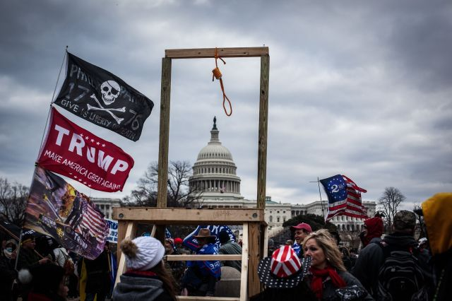 Rioters set up a noose outside the Capitol on Jan. 6.
