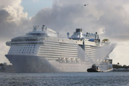 The Royal Caribbean's Odyssey of The Seas arrives at Port Everglades in Florida on June 10 ahead of its first passenger