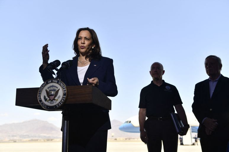 Vice President Kamala Harris speaks during a press conference at El Paso International Airport on Friday.