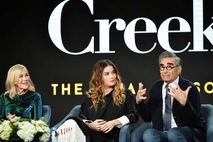 """Catherine O'Hara, Annie Murphy and Eugene Levy of """"Schitt's Creek"""" during the Pop TV segment of the 2020 Winter TCA Press Tou"""