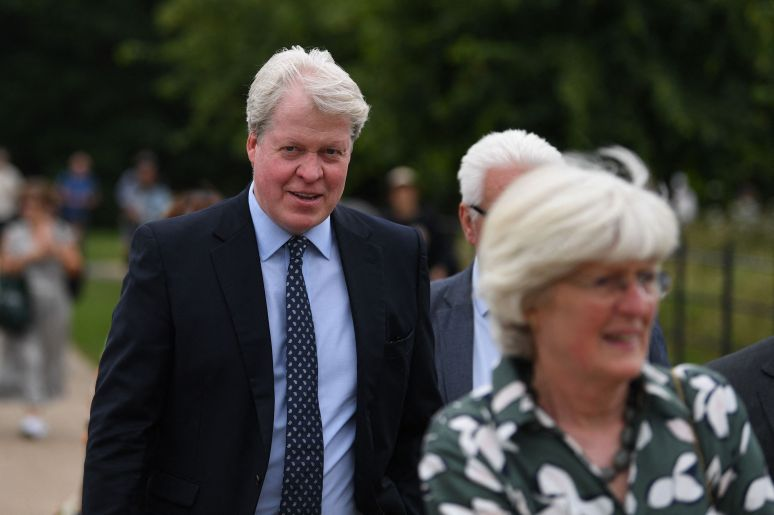 Charles Spencer andLady Jane Fellowes, brother and sister of Diana, arrive at Kensington Palace for the statue unveilin