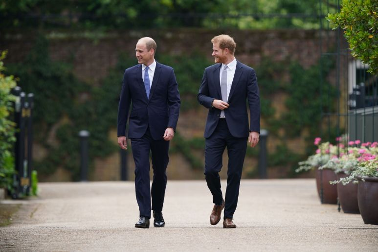 William and Harry arrive.