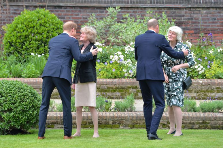 The Duke of Sussex and Duke of Cambridge greet their aunts Lady Sarah McCorquodale (second left) and Lady Jane Fellowes (righ