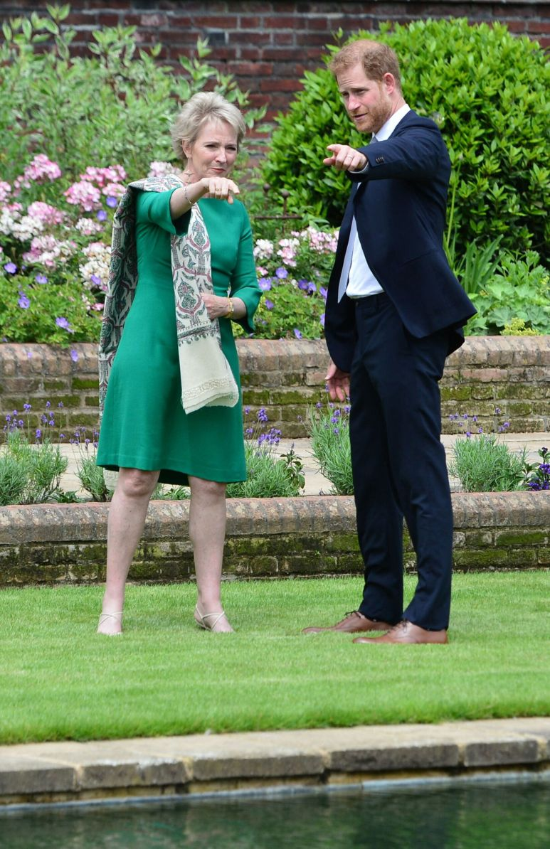 Harry greets Julia Samuel, founder of Child Bereavement UK and close friend of Princess Diana, at the unveiling.