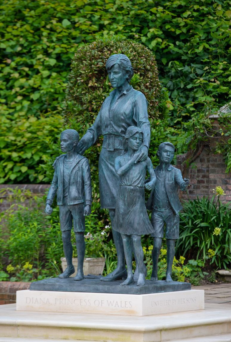 The statue of Diana, Princess of Wales, by artist Ian Rank-Broadley, in the Sunken Garden at Kensington Palace.