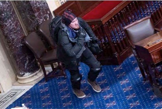 Federal prosecutors used this image as evidence to charge 34-year-old Josiah Colt, who breached the U.S. Capitol and rappelle
