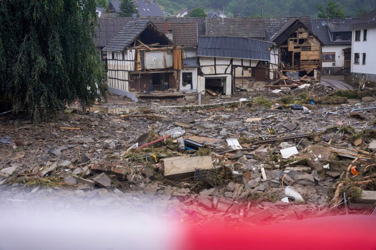 Debris covers the roads in Schuld, Germany.