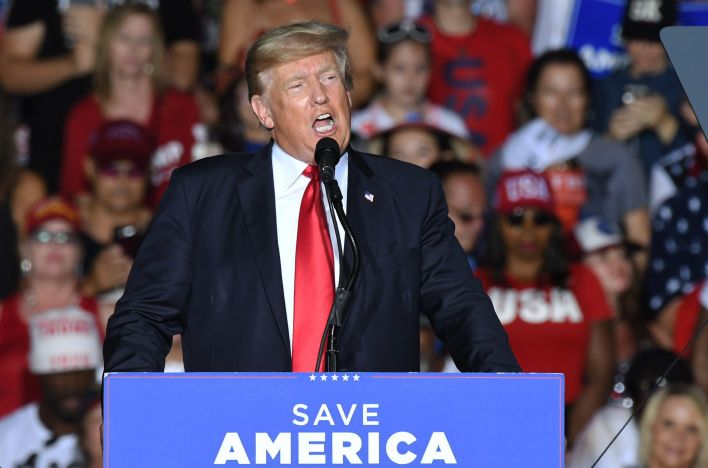 Former President Donald Trump speaks in July at a rally at the Sarasota Fairgrounds in Florida. Many Republicans are still be