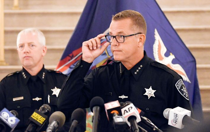 Albany County Sheriff Craig D. Apple speaks during a news conference concerning new complaint allegations against New York Go