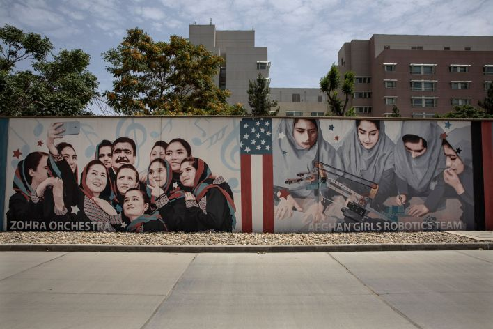 Murals are seen along the walls at the U.S. embassy in Kabul, Afghanistan.