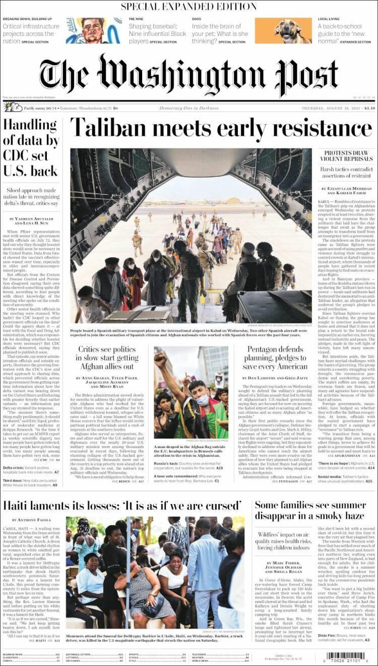 Portada de 'The Washington Post' del 19 de agosto de