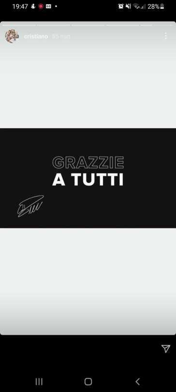 """""""Grazzie a tutti"""": l'addio (con errori) di Cristiano Ronaldo alla Juve su Instagram"""
