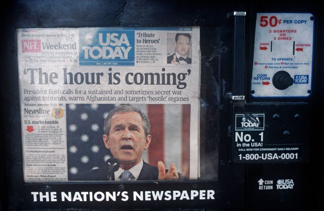 A week after the 9/11 terrorist attacks, the headline on the front page of USA Today ran a quote from then-President George W