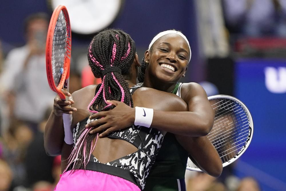 Sloane Stephens hugs Coco Gauff after Stephens won their match during the second round of the US Open tennis championships on