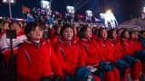 Spectators from the Democratic People's Republic of Korea at the 2018 Winter Olympic Games Closing Ceremony at Pyeongchang Olympic Stadium  on 25th February 2018 in Pyeongchang, South Korea (photo by Sam Mellish / In Pictures via Getty Images Images)