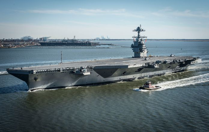 In this handout photo provided by the U.S. Navy, the future USS Gerald R. Ford is seen underway on its own power for the firs