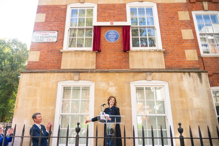 Princess Diana's former flatmate Virginia Clarke and English Heritage chairman Sir Tim Laurence unveil an English Heritage bl