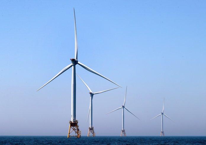 The Block Island Wind Farm off the coast of Block Island, Rhode Island, is pictured on Jun. 13, 2017.