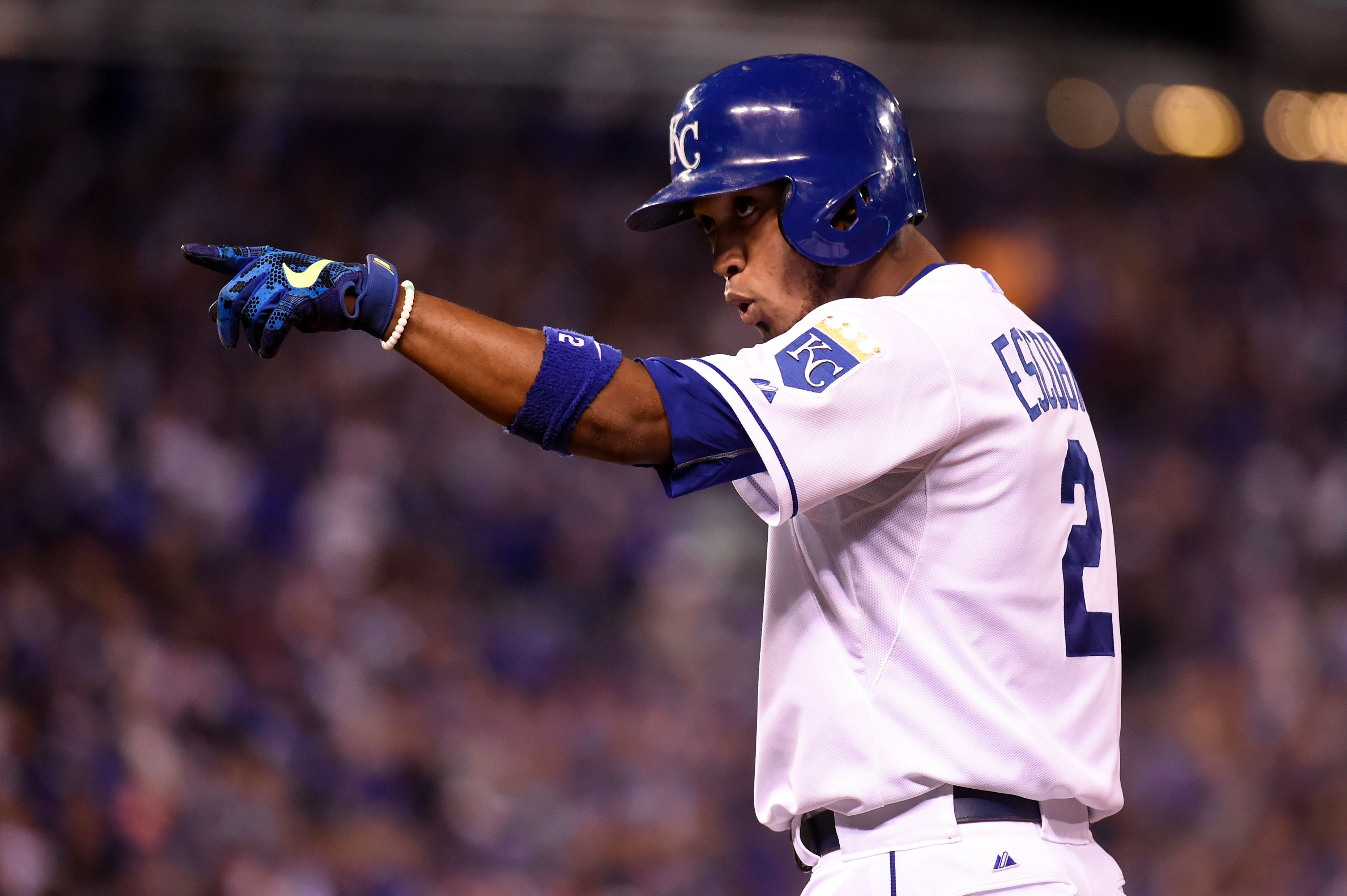 """<span class='image-component__caption' itemprop=""""caption"""">Alcides Escobar #2 of the Kansas City Royals reacts during Game 6 of the ALCS against the Toronto Blue Jays at Kauffman Stadium on Friday, October 23, 2015 in Kansas City Missouri.</span>"""