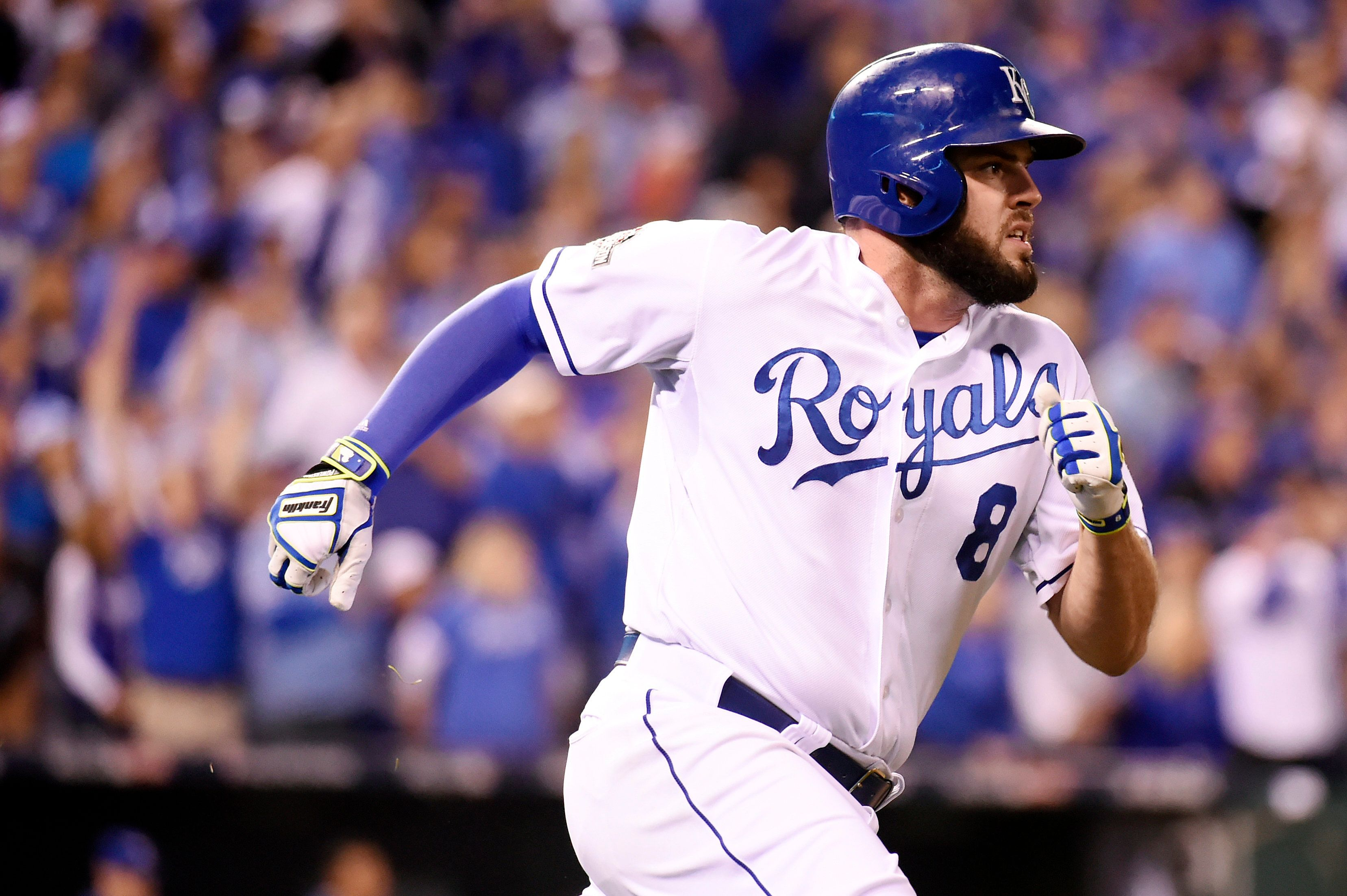 """<span class='image-component__caption' itemprop=""""caption"""">Mike Moustakas #8 of the Kansas City Royals rounds the bases after hitting a home run in the second inning during Game 6 of the ALCS against the Toronto Blue Jays at Kauffman Stadium on Friday, October 23, 2015 in Kansas City Missouri.</span>"""