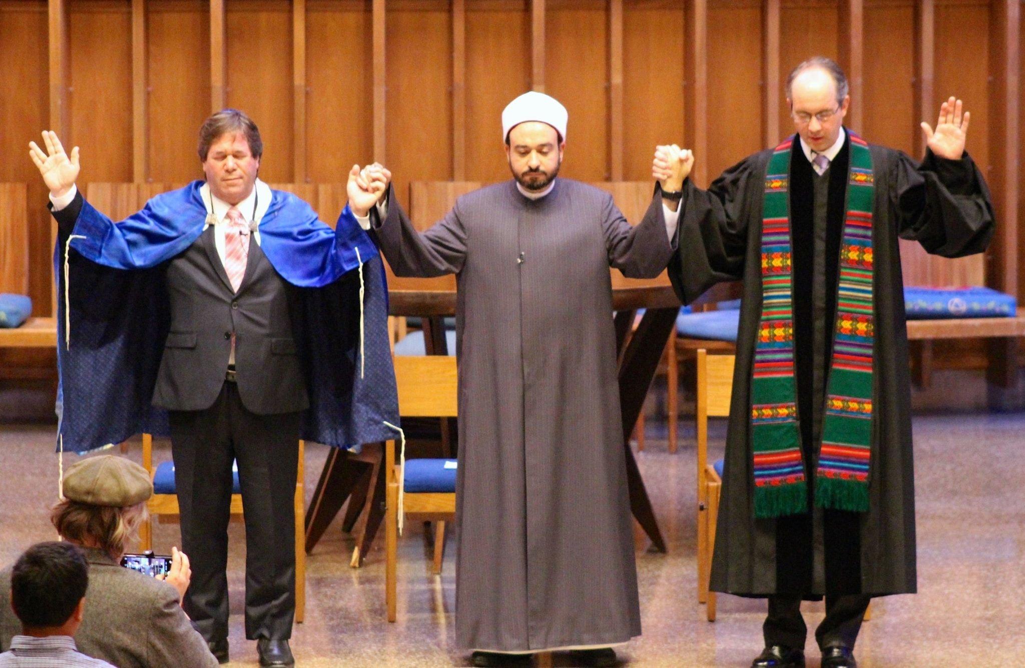 "<span class='image-component__caption' itemprop=""caption"">Rabbi Schnitzer, Dr. Tarek Elgawhary and Pastor David Gray pray together during an interfaith service atBradley Hills Presbyterian Church inBethesda, Maryland.</span>"