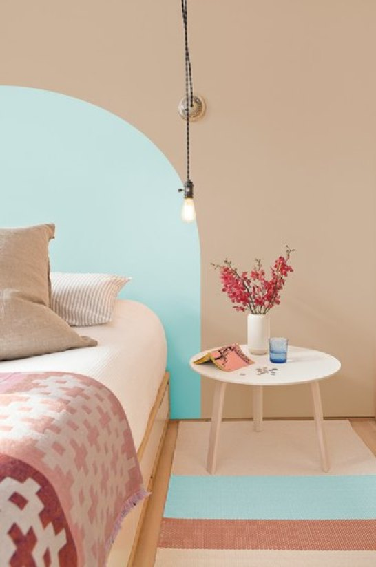 bedroom in blue and sand palette