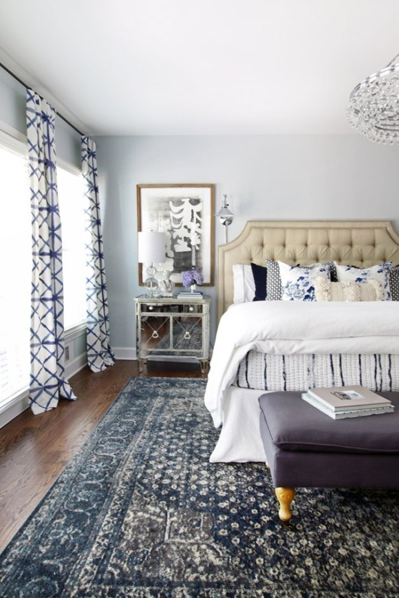 bedroom rug ideas with a blue rug in large room