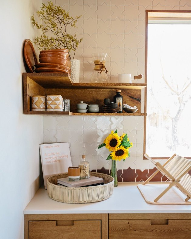 kitchen space with shelf and desert decor