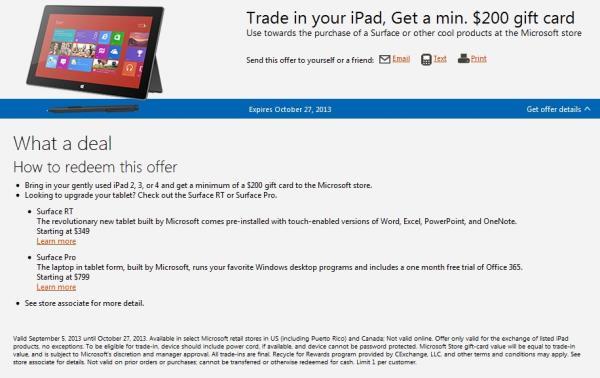 Microsoft oferece US$ 200 em crédito em troca de iPads antigos