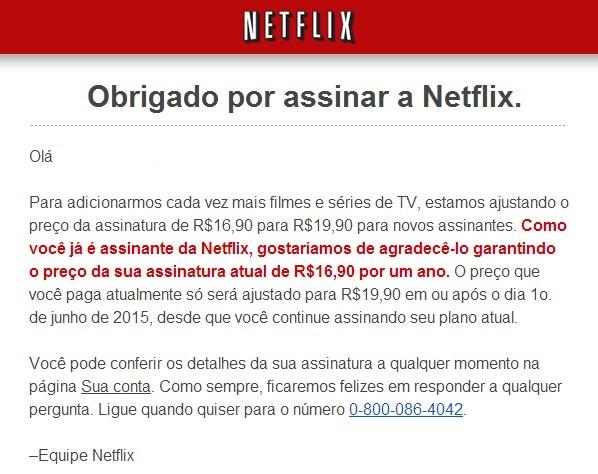 Preço da assinatura do Netflix é reajustado