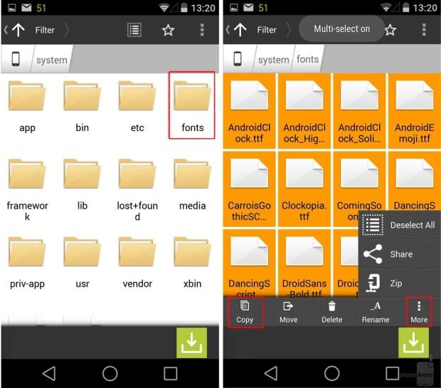Novas fontes em aparelhos com root no Android.