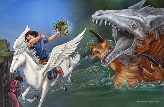 Perseu transforma Cetus em pedra mostrando a cabeça de Medusa
