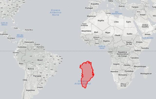 Groenlândia entre Brasil e África