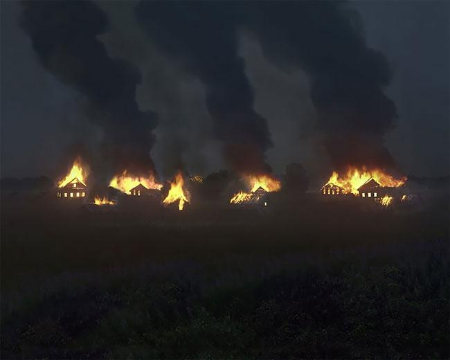 Incêndio em vilarejo