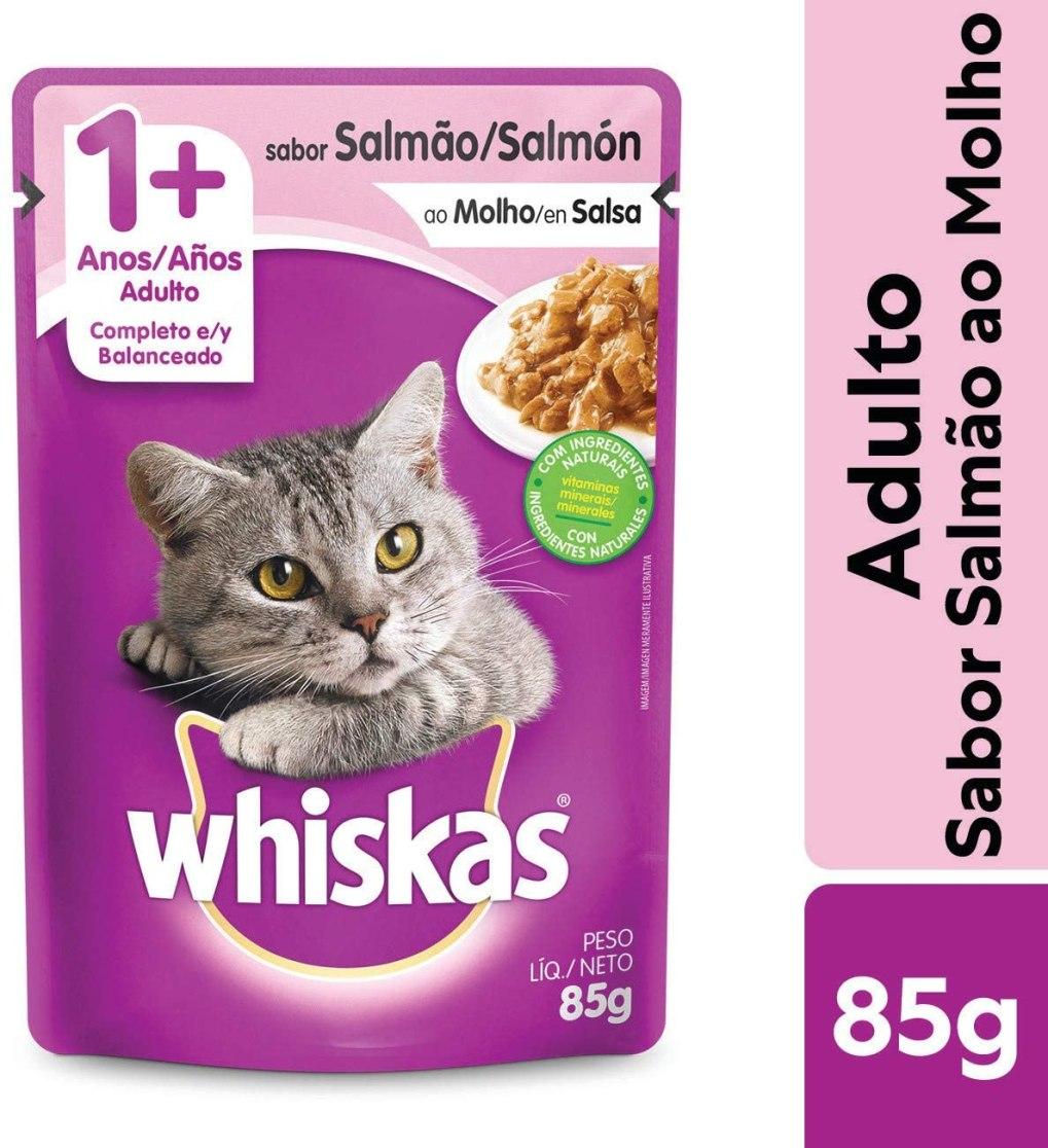 Imagem: Ração Úmida Para Gatos Whiskas Sachê Salmão ao Molho, Adultos, 85g
