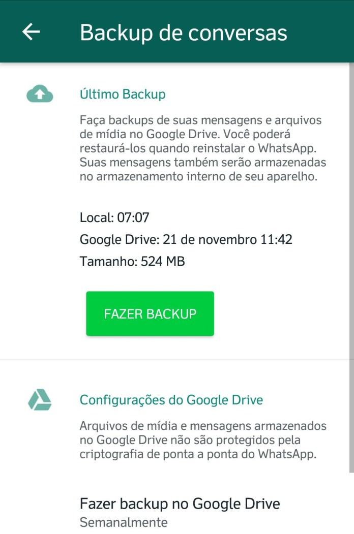 Como realizar backup de suas mensagens no WhastApp