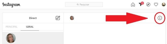 """Clique no ícone com um """"i"""" para acessar as informações do perfil"""
