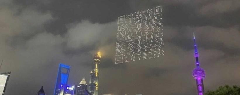 Imagem de: Drones formam QR Code gigante para baixar jogo na China