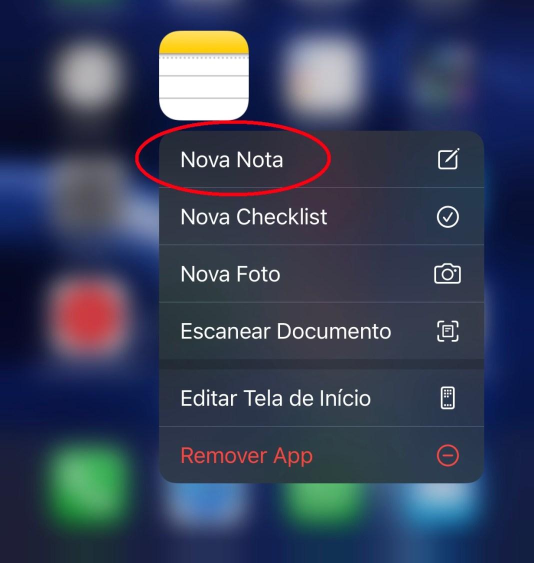 """Pressione o aplicativo Notas e vá na opção """"Nova Nota"""" para criar uma nova anotação"""