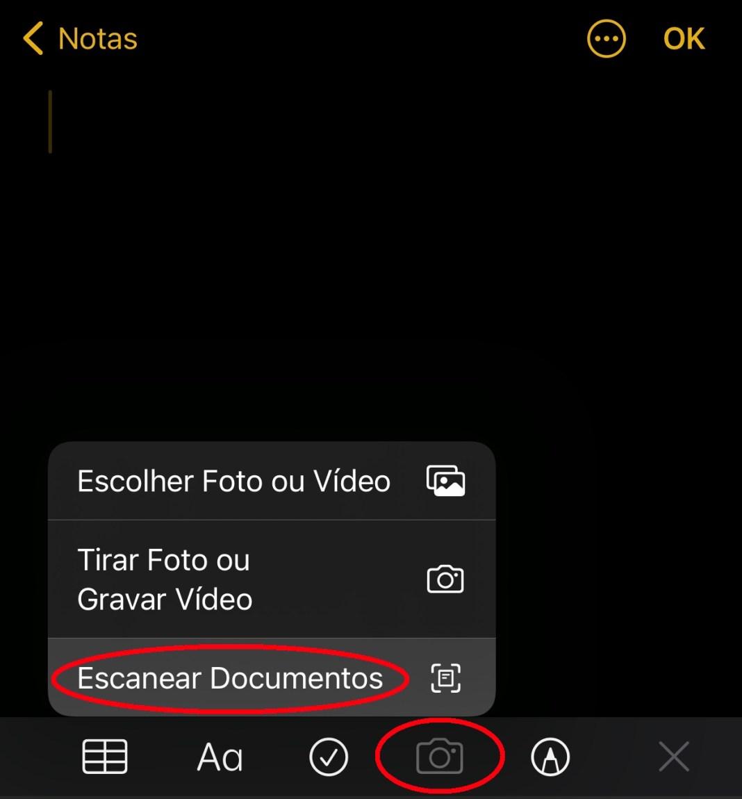 """No ícone da câmera é possível encontrar a opção """"Escanear Documentos"""""""